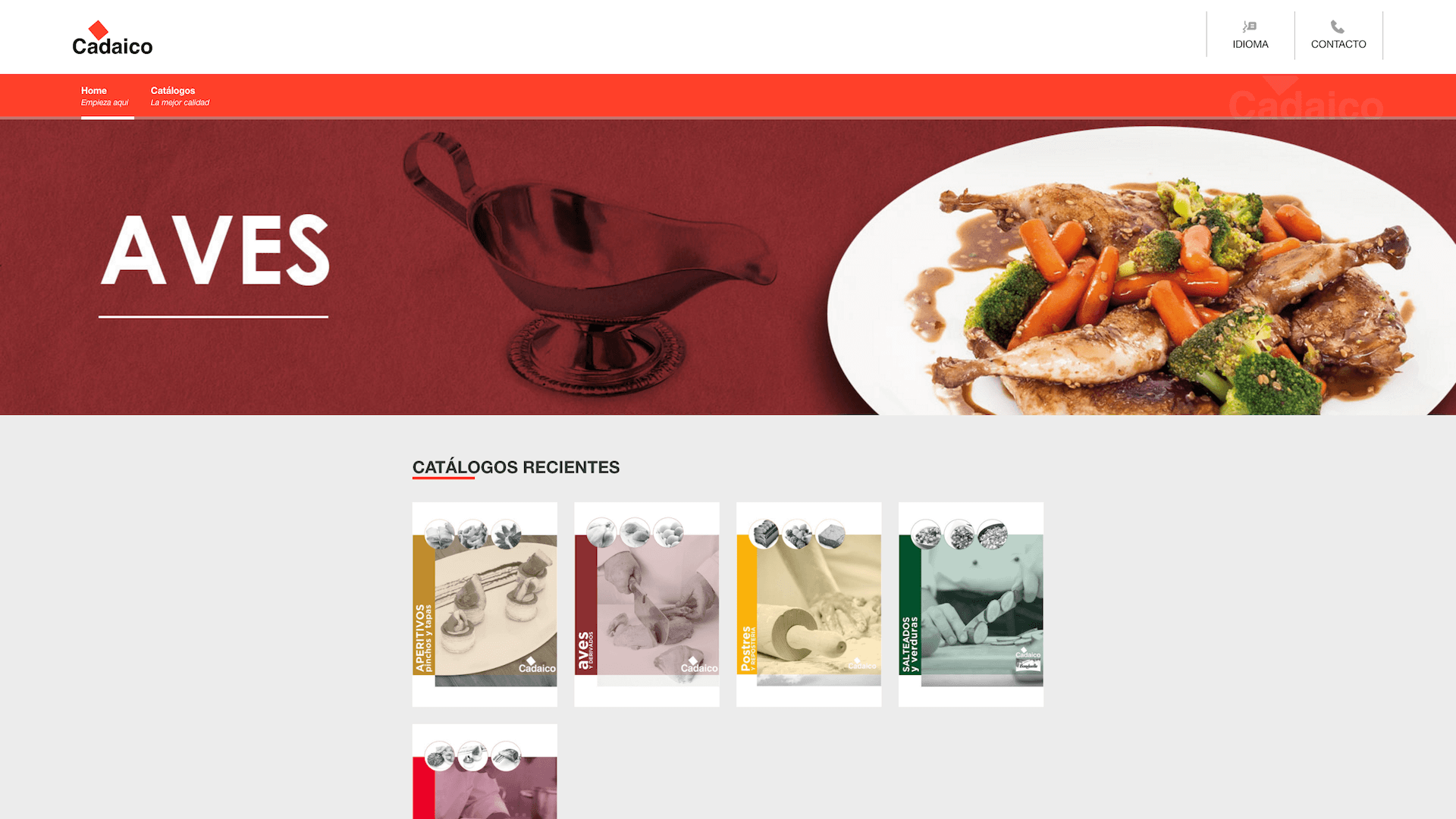 Screenshot of the corporate website of a meat company