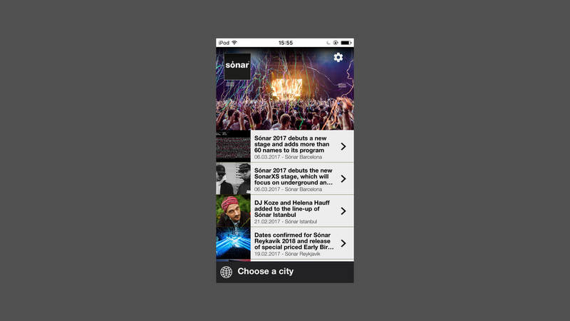 Screenshot of the Sonar app, concert listing