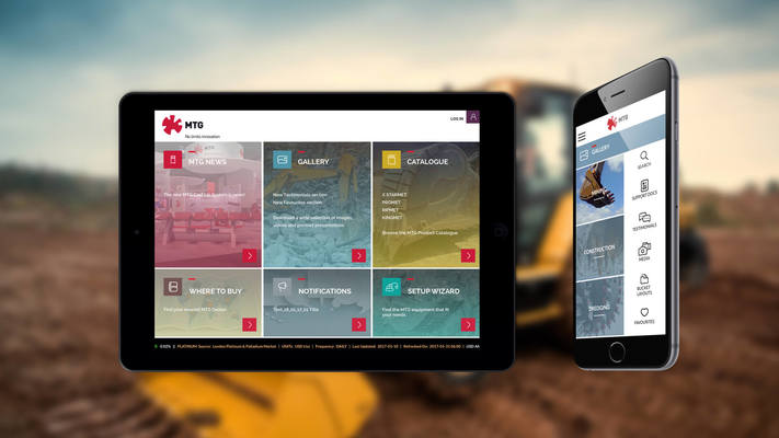MTG application on iPad and smartphone with a wallpaper of a bulldozer machine