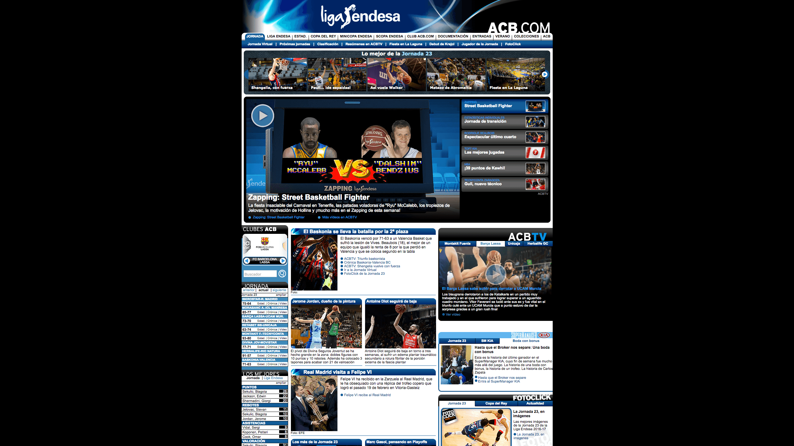 Screenshot of the ACB web - Spanish basketball league