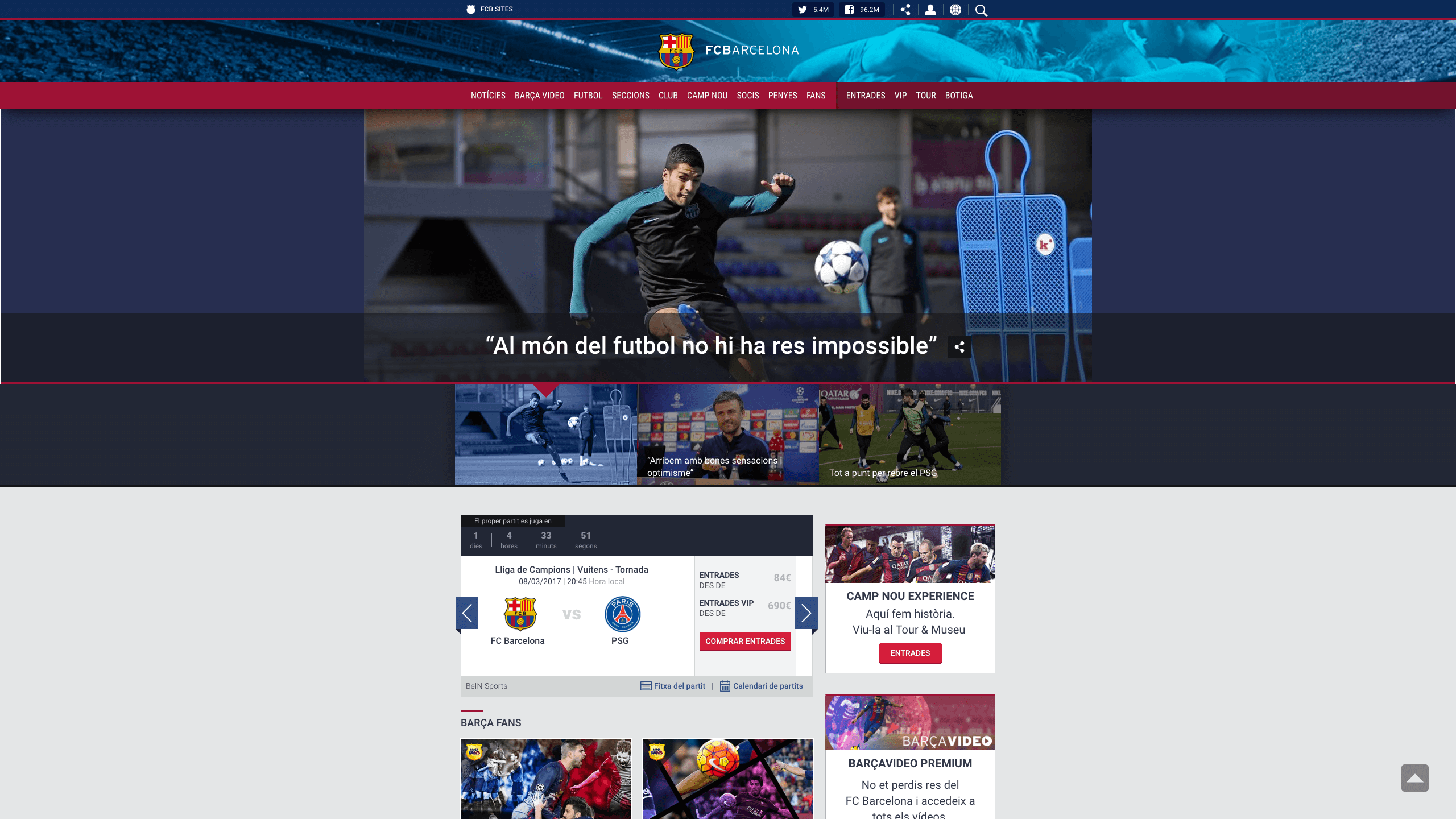 Web of the Futbol Club Barcelona