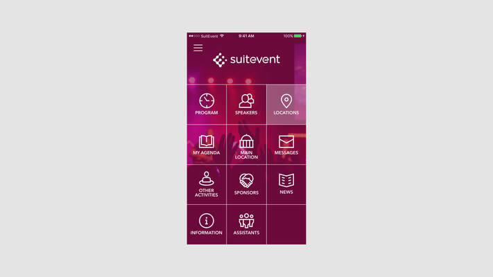 Screenshot of the app for events, Suitevent festival app