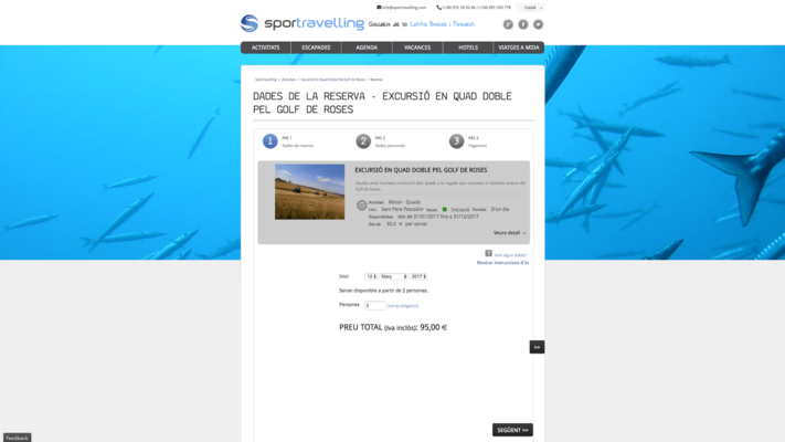 Screenshot of the Sportravelling booking portal