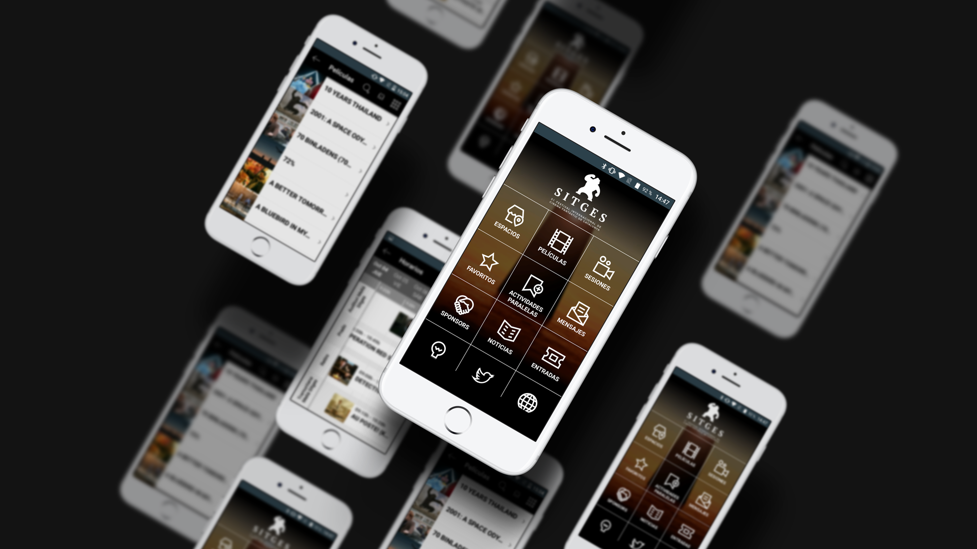 Screenshot of the native app of the Sitges film festival of 2016