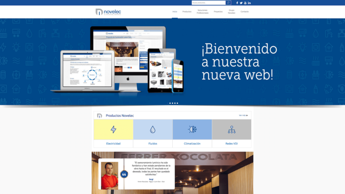 Screenshot of the web design of the Novelec website