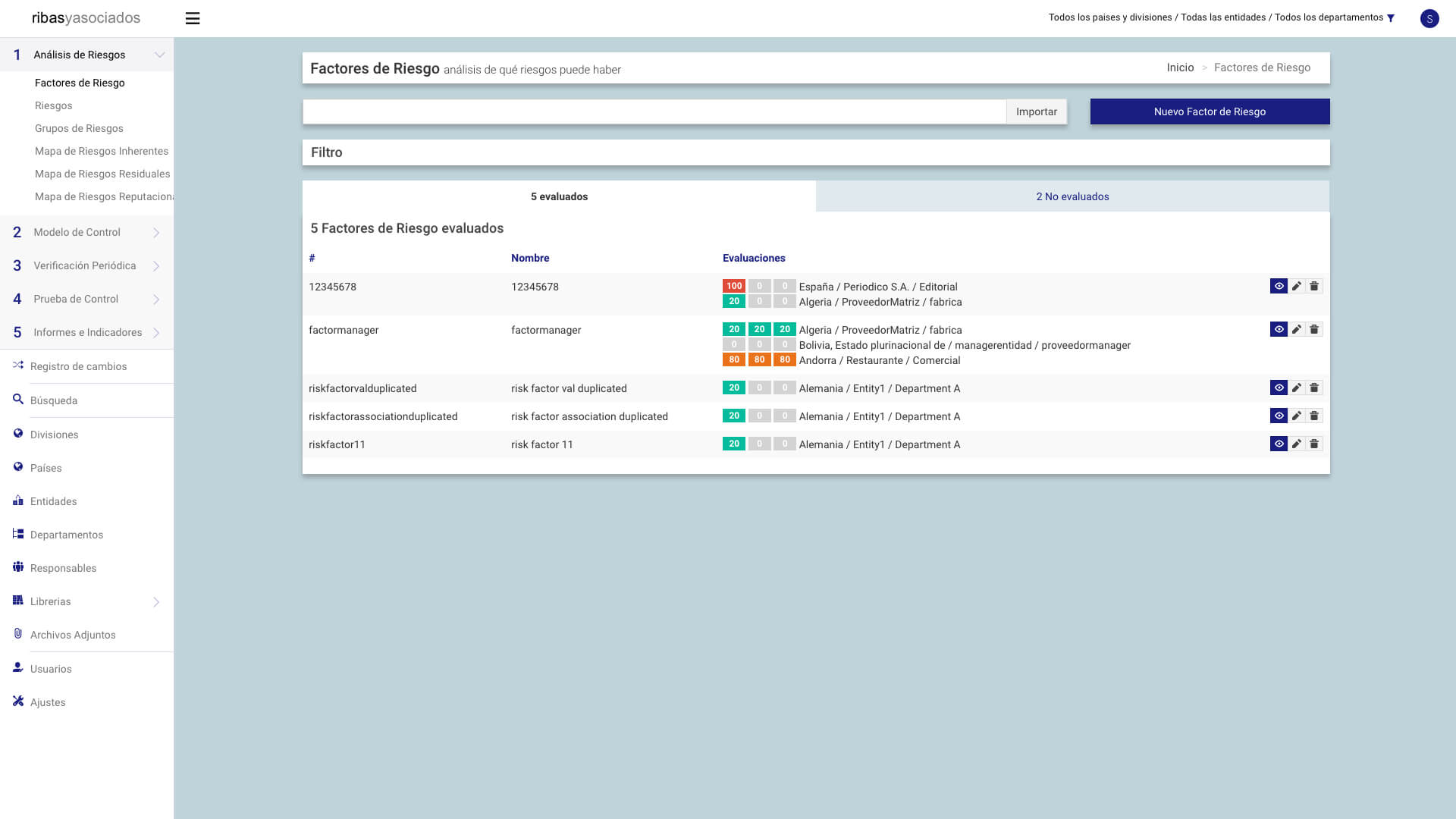 Screenshot of the compliance management web application