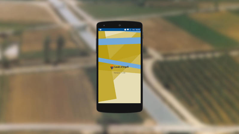 Canals de Urgell native app with a wallpaper of some fields
