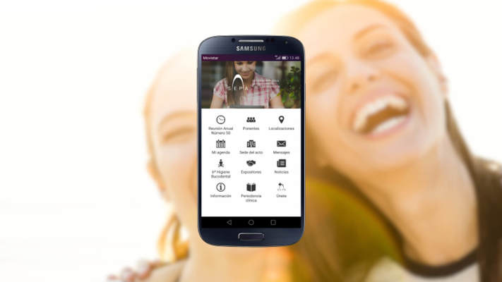 Smartphone with SEPA native app. Background of 2 loyal customers of the brand