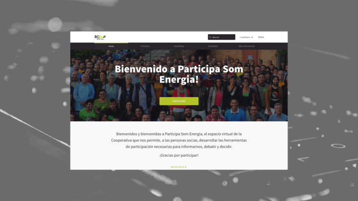 RWD design of the decidim web platform of som energia
