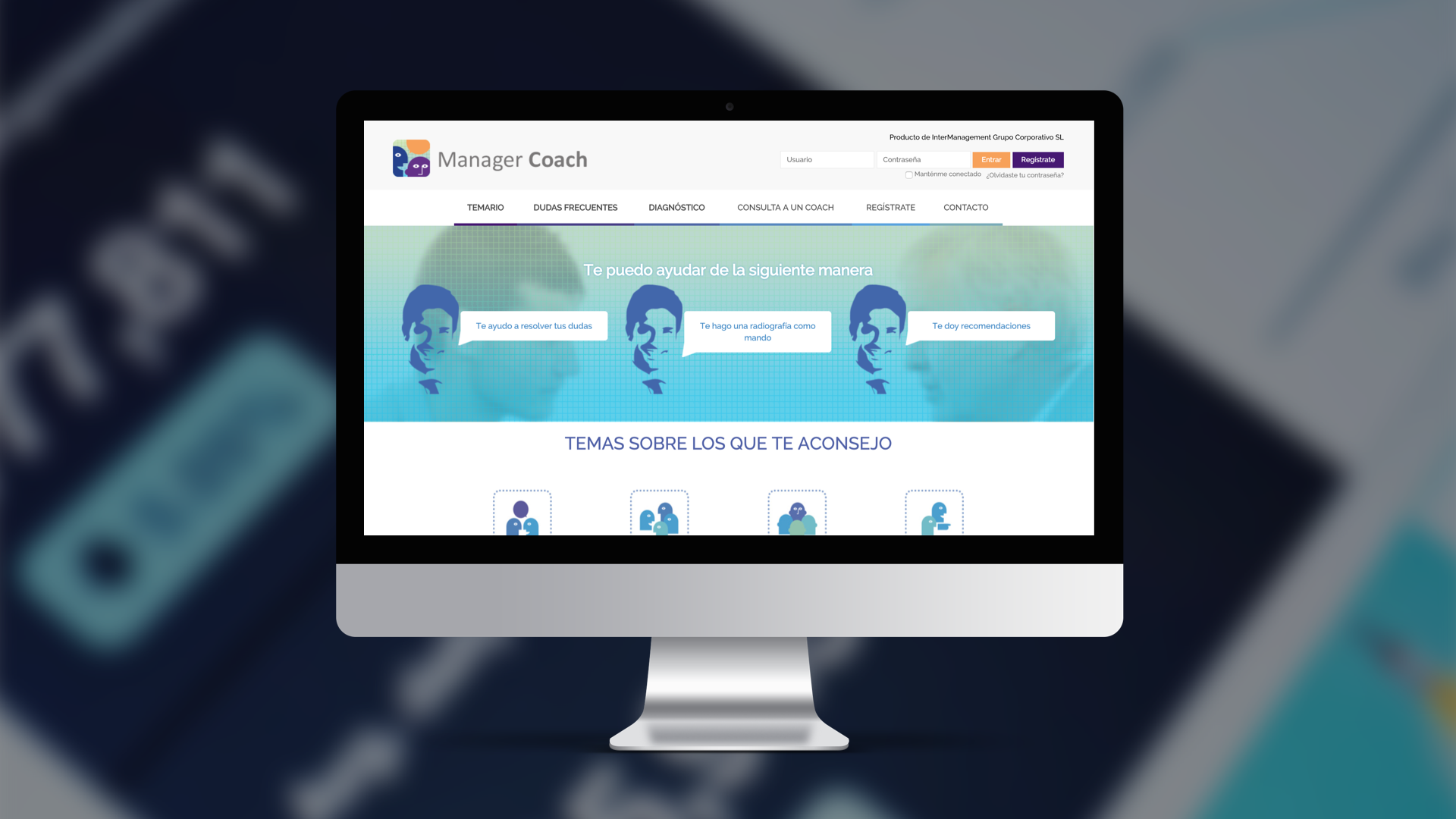Section of the Manager Coach web platform