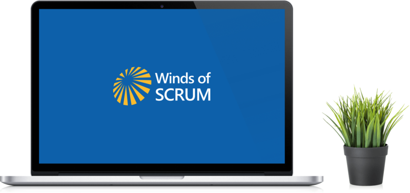Ordenador con el logo Winds of Scrum