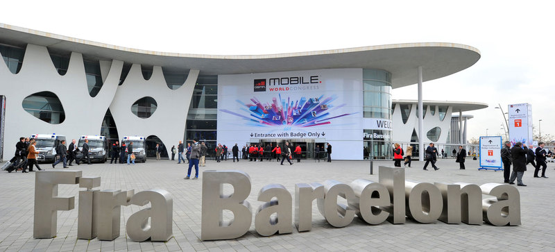 Entrance of the fairground of the Mobile World Congress of Barcelona