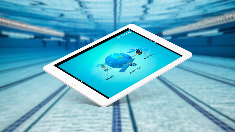 iPad with Fluidra app with a underwater wallpaper of an olimpic pool