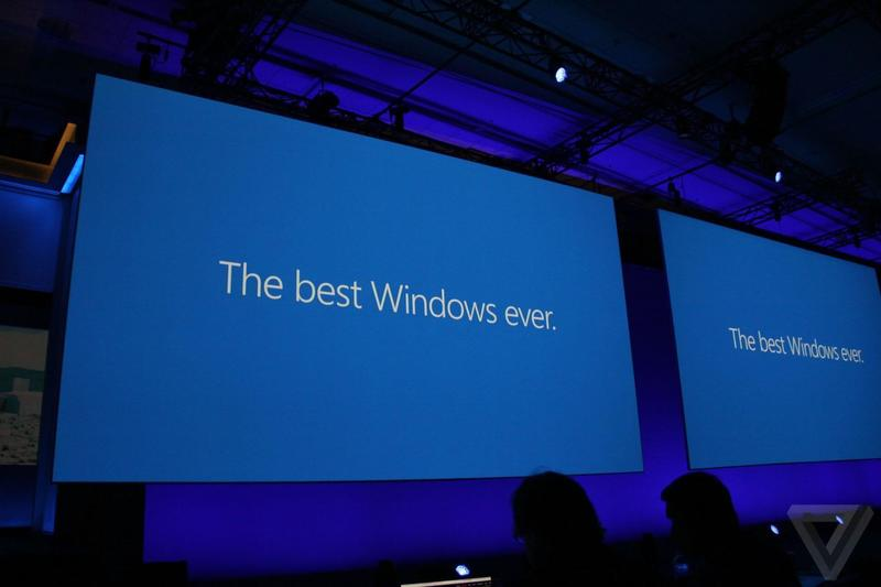 "Text ""The best Windows ever"" projected on a screen"