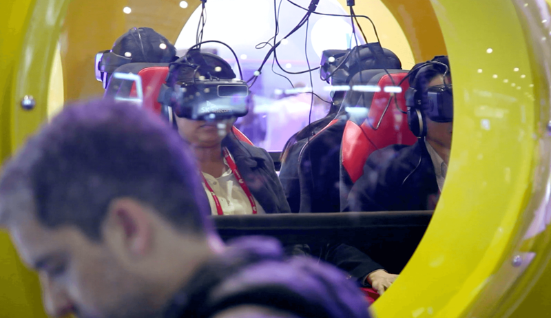 Persons in a virtual reality simulator on the MWC2016