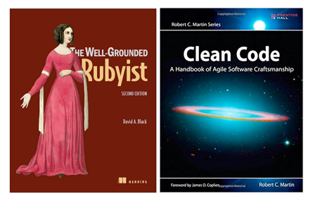"Cover of the books ""The well-grounded Rubyist"" and ""Clear Code"""