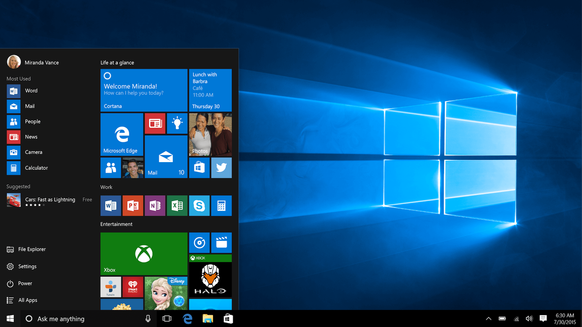 Screenshot of the Windows 10 in operation