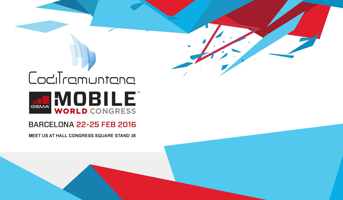 CodiTramuntana logo and indication of the stand in the MWC2016 of Barlceona